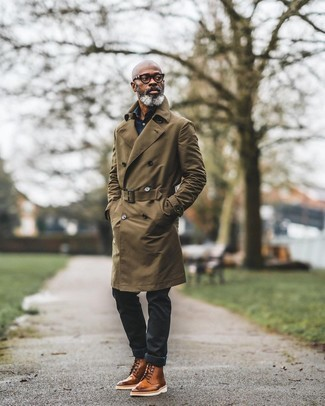 Brogue Boots Outfits: When the dress code calls for a refined yet knockout ensemble, wear an olive trenchcoat with black jeans. A good pair of brogue boots ties this look together.