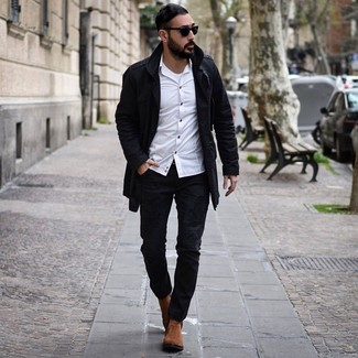 How to Wear a White Tank For Men: Pairing a white tank with black ripped jeans is an amazing pick for a casual but dapper outfit. And if you need to instantly smarten up your getup with footwear, why not introduce tobacco suede chelsea boots to the mix?