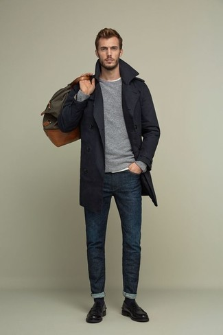 Black Leather Loafers Outfits For Men: For an outfit that's smart and wow-worthy, consider pairing a navy trenchcoat with navy jeans. If you need to easily up the style ante of this ensemble with one piece, why not complement this outfit with black leather loafers?