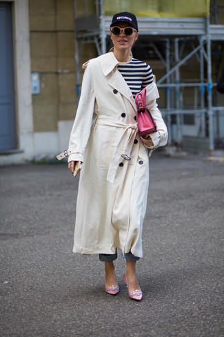 How to wear: white trenchcoat, white and black horizontal striped long sleeve t-shirt, blue jeans, pink embellished satin pumps