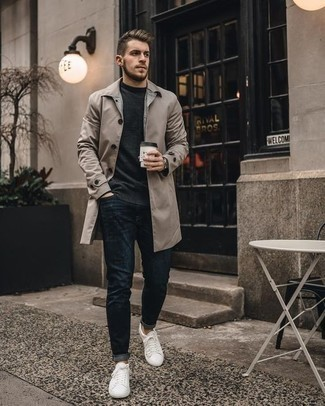 How to Wear a Charcoal Long Sleeve T-Shirt For Men: Consider teaming a charcoal long sleeve t-shirt with navy jeans for both stylish and easy-to-wear ensemble. A pair of white leather low top sneakers will be the ideal accompaniment for this outfit.