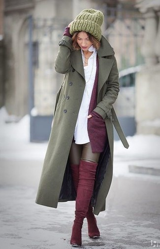 How to wear: olive trenchcoat, dark purple open cardigan, white dress shirt, dark brown leather leggings