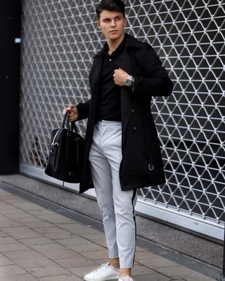 Black Polo Smart Casual Outfits For Men: Try teaming a black polo with grey vertical striped chinos for an effortless kind of class. A pair of white leather low top sneakers looks wonderful complementing your ensemble.