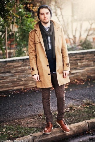 Men's Tan Trenchcoat, Navy Polo, Dark Brown Wool Dress Pants, Brown Leather Derby Shoes