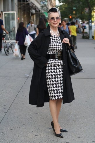 How to wear: black trenchcoat, white and black houndstooth sheath dress, black leather pumps, black leather tote bag