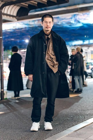 Brown Leather Jacket with Black Pants Outfits For Men: A brown leather jacket and black pants are the kind of a tested outfit that you so desperately need when you have no time. All you need is a nice pair of white athletic shoes to complement this getup.
