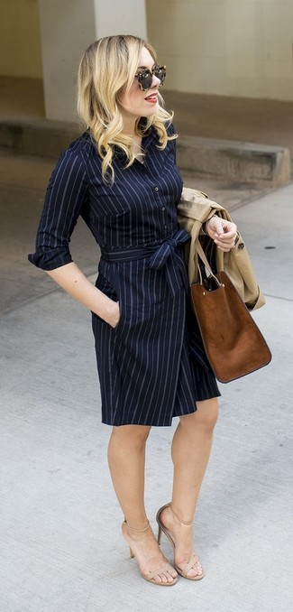 How to wear: beige trenchcoat, navy vertical striped shirtdress, beige leather heeled sandals, brown suede tote bag
