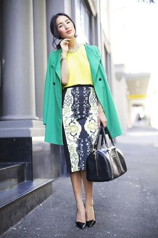 Women's Green Trenchcoat, Yellow Silk Short Sleeve Blouse, Navy and White Floral Pencil Skirt, Black Leather Pumps