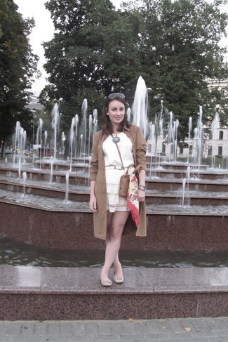 How to wear: brown suede trenchcoat, white silk sleeveless top, white lace skater skirt, beige leather ballerina shoes