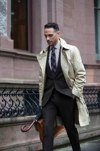 Men's Beige Trenchcoat, Black Suit, Brown Gingham Dress Shirt, Tan Leather Briefcase