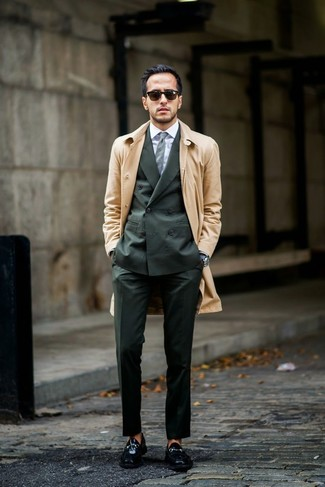 How to wear: tan trenchcoat, dark green suit, white dress shirt, black leather loafers