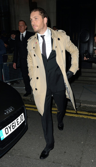 How to wear: tan trenchcoat, black suit, white dress shirt, black leather oxford shoes