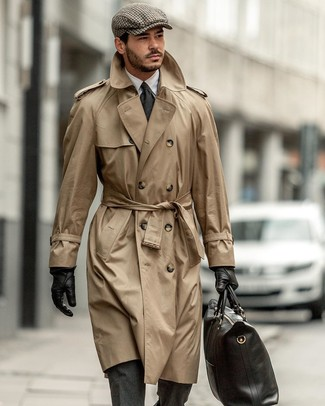 How to wear: tan trenchcoat, charcoal wool suit, white dress shirt, black leather tote bag