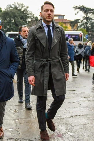 How to Wear a Black Knit Tie For Men: Consider wearing a charcoal trenchcoat and a black knit tie for masculine sophistication with a modern spin. When not sure as to the footwear, go with a pair of dark brown suede oxford shoes.