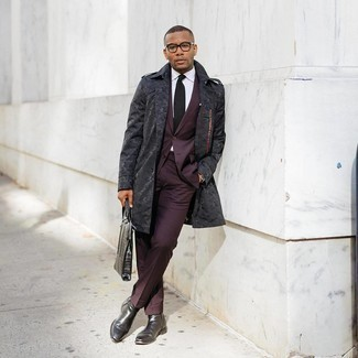 Burgundy Suit Outfits: Teaming a burgundy suit and a charcoal trenchcoat is a surefire way to breathe an elegant touch into your closet. For something more on the daring side to complement your outfit, introduce a pair of black leather chelsea boots to the equation.