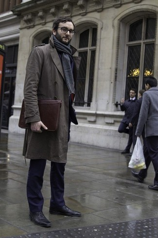 Black trench coat with brown shoes