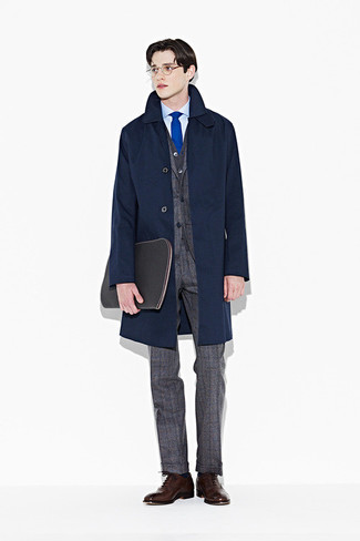 Light Blue Dress Shirt Outfits For Men: Combining a light blue dress shirt and a navy trenchcoat will allow you to display your outfit coordination savvy. To give your overall ensemble a more elegant twist, why not add a pair of dark brown leather oxford shoes to the mix?