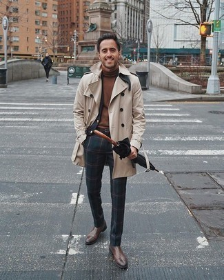 Navy and Green Plaid Suit Outfits: Putting together a navy and green plaid suit and a beige trenchcoat is a guaranteed way to inject your wardrobe with some rugged sophistication. Finishing off with a pair of brown leather chelsea boots is a surefire way to inject a more relaxed vibe into this look.