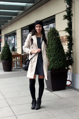 How to wear: beige trenchcoat, charcoal sweater dress, black leather lace-up ankle boots, black knee high socks
