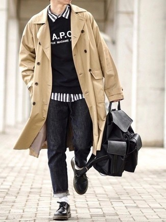 Charcoal Jeans Outfits For Men: This pairing of a tan trenchcoat and charcoal jeans is a winning option when you need to look seriously stylish but have zero time. For something more on the smart side to finish off this getup, add black leather derby shoes to the equation.