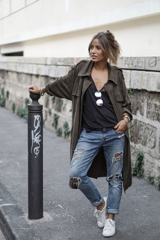 How to wear: olive lightweight trenchcoat, black tank, blue ripped boyfriend jeans, white leather low top sneakers