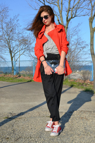 How to wear: red trenchcoat, grey tank, black chinos, red canvas low top sneakers