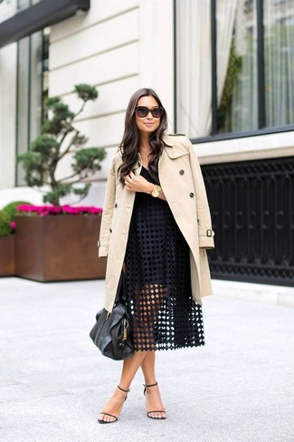 Dress in a cream trench and a black eyelet full skirt for a glam and trendy getup. Black leather heeled sandals are a smart choice to complete the look.