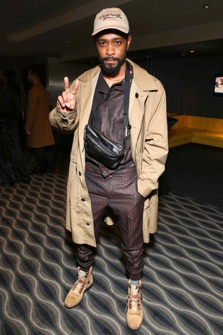 How to wear: tan trenchcoat, dark brown track suit, tan suede casual boots, dark brown leather fanny pack