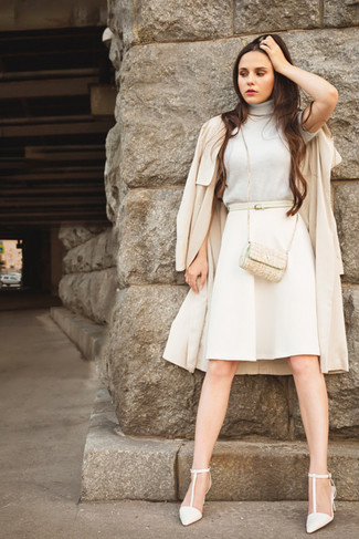 Women's Beige Trenchcoat, Beige Turtleneck, Beige A-Line Skirt ...