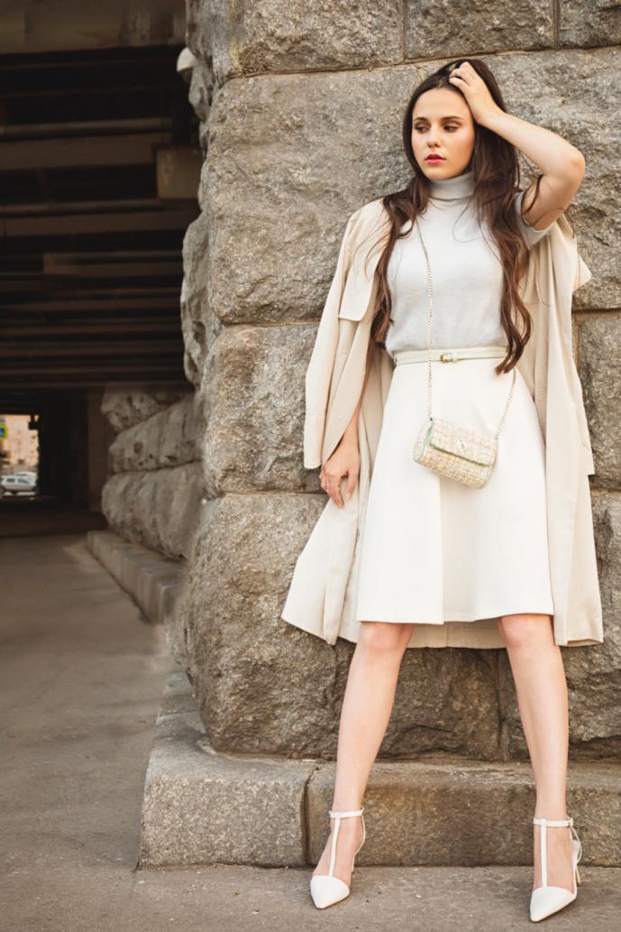 Women's Beige Trenchcoat, Beige Turtleneck, Beige A-Line Skirt ...