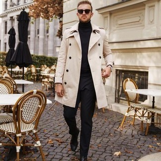 Men's Outfits 2020: A beige trenchcoat and black chinos are the ideal way to inject extra refinement into your daily off-duty wardrobe.