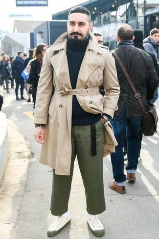 Bracelet Outfits For Men: A beige trenchcoat and a bracelet are a great pairing to be utilised on lazy days. If you're hesitant about how to finish, complete your look with a pair of white canvas low top sneakers.