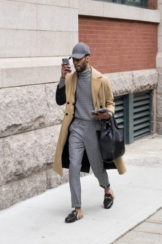 How to wear: tan trenchcoat, grey turtleneck, grey dress pants, black leather loafers