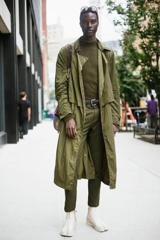 How to wear: olive trenchcoat, olive turtleneck, olive dress pants, beige suede chelsea boots