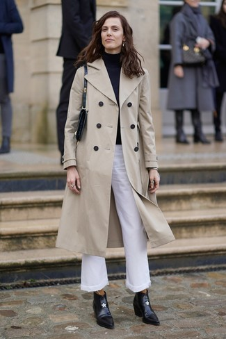 How to wear: beige trenchcoat, black turtleneck, white flare jeans, black leather ankle boots