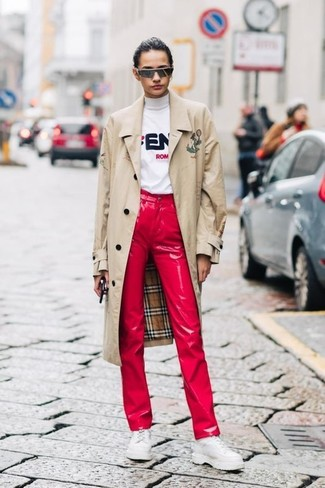 How to wear: beige trenchcoat, white print turtleneck, red leather jeans, white chunky leather oxford shoes