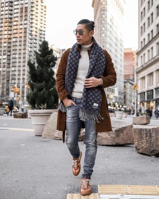 Turtleneck Outfits For Men: If you're scouting for a laid-back but also seriously stylish ensemble, wear a turtleneck with grey ripped jeans. If you need to effortlessly ramp up this ensemble with a pair of shoes, complement this getup with a pair of brown leather low top sneakers.