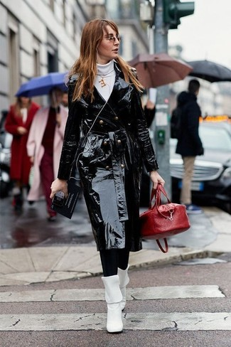 How to wear: black leather trenchcoat, white turtleneck, black leggings, white leather mid-calf boots