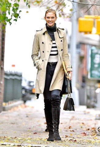 How to Wear a Belt For Women: Who said you can't make a fashion statement with a relaxed casual ensemble? Draw the attention in a beige trenchcoat and a belt. Balance this look with a dressier kind of shoes, like these black suede over the knee boots.