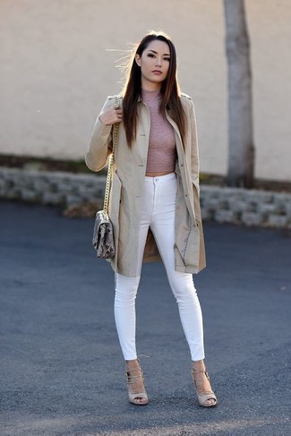 How to wear: beige trenchcoat, pink turtleneck, white skinny jeans, beige leather gladiator sandals