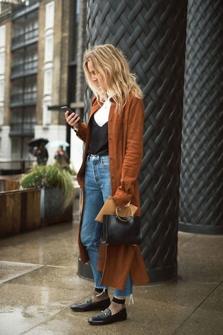 How to wear: brown suede trenchcoat, white turtleneck, black silk tank, blue jeans