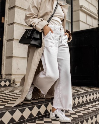 How to wear: beige trenchcoat, beige turtleneck, white denim wide leg pants, white and black leather low top sneakers