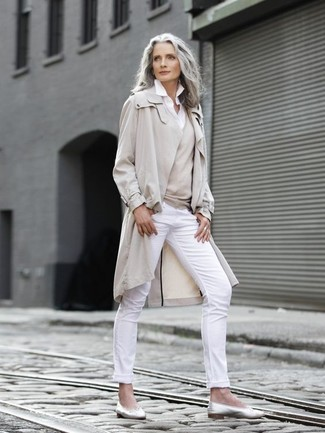 How to wear: beige trenchcoat, beige v-neck sweater, white dress shirt, white skinny pants