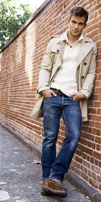 Men's Beige Trenchcoat, White V-neck Sweater, Blue Jeans, Brown ...
