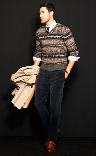 How to wear: tan trenchcoat, olive fair isle v-neck sweater, white long sleeve shirt, navy corduroy dress pants