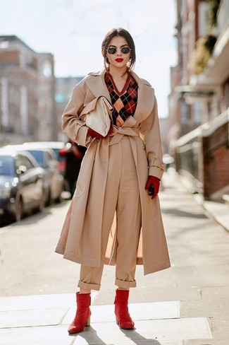 How to wear: beige trenchcoat, red argyle v-neck sweater, beige wide leg pants, red leather ankle boots