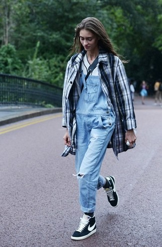 How to wear: white and black plaid trenchcoat, white v-neck t-shirt, light blue overalls, black and white suede high top sneakers