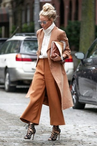 How to wear: tan trenchcoat, white zip sweater, tobacco culottes, black suede gladiator sandals