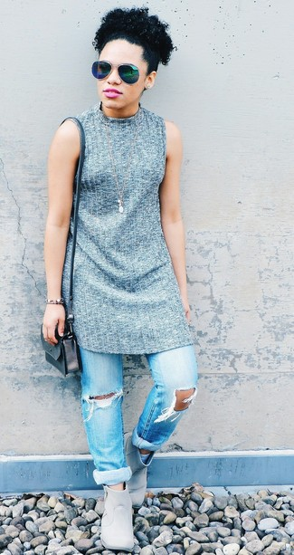 How to wear: grey knit tunic, light blue ripped boyfriend jeans, grey leather ankle boots, silver leather crossbody bag