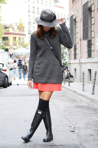 How to wear: charcoal knit tunic, red mini skirt, black rain boots, black knee high socks